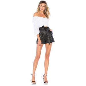 Lovers + Friends NWT 2020 Leather Zeal Shorts Blac